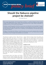 Should the Nabucco pipeline project be shelved?