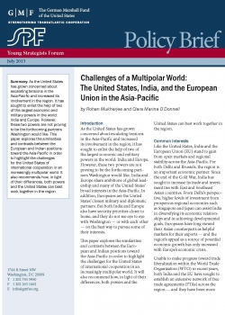 Challenges of a multipolar world: The United States, India, and the European Uni